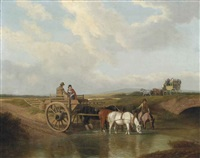 a landscape with a cart at a ford, with horses watering, a coach beyond by jacques-laurent agasse