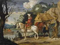 river landscape with cavaliers waiting for a ferry by monogrammist phb i