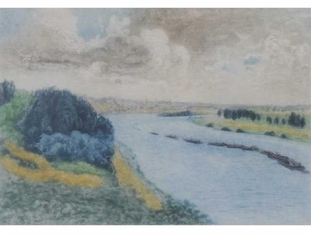 chalands sur la seine by pierre auguste renoir