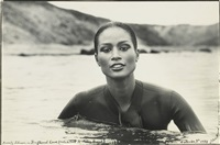 beverly johnson in driftwood cove (montauk point c/o peter beard) by peter beard