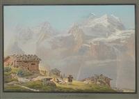 picknick auf der wengneralp zwischen wengen und dem kleinen schneidegg in der schweiz by johann ludwig (louis) bleuler