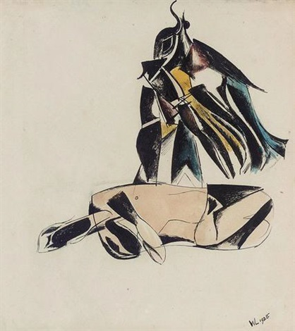 seated figure by wyndham lewis