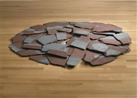 red-blue slate circle (in 44 parts) by richard long