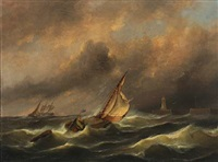 a dutch sailing boat in rough sea outside port by govert van emmerik
