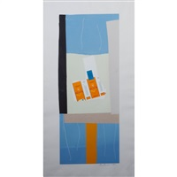 havest with orange stripe by robert motherwell