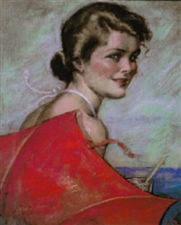 young woman at beach with red umbrella by ruth eastman