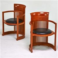 taliesen barrel chairs (2 works) by frank lloyd wright