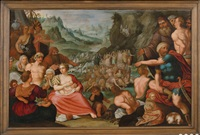 moïse faisant jaillir l'eau du rocher by hans jordaens iii