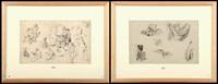 etudes de draperies (+ etudes de personnages; 2 works) by jean baptiste madou