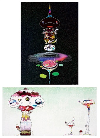 areversed double helix black brown body bhypha will cover the world little by little 2 works various sizes by takashi murakami