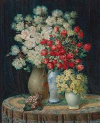 blumenstück mit rosen by j. voisard