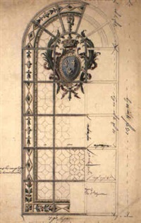 design for stained-glass window with arms of france in cartouche by gilles-marie oppenort