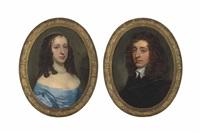 portrait of anne de laune, née sandys (b. 1634), half-length, in a blue dress (+ portrait of abraham de laune (1629-1709), half-length, in black; pair) by sir peter lely