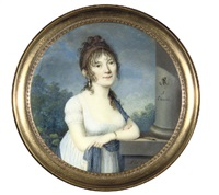a young lady, in low-cut white dress, a blue stole over her left shoulder by abel
