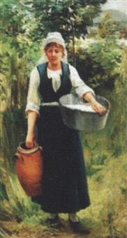 bretonsk kvinde med kande og fad by marguerita pillini
