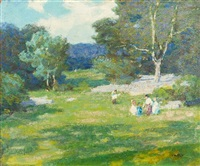 children in meadow by edward henry potthast