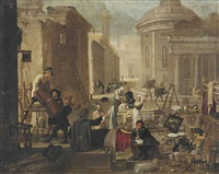 an auction in an italianate street by jan miel