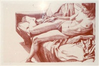 nude on sofa draped by philip pearlstein