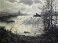 rushing waterfall by constant auguste de l' aubiniere