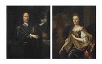portrait of adriaan de lange (1633-1693); portrait of margaretha bonser (1629-1711) (pair) by pieter van der werff