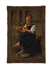 peasant girl eating an apple by charles victor thirion