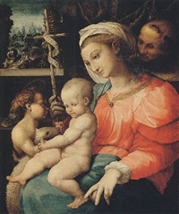 the madonna and child with the infant saint john the baptist and saint francis behind by girolamo genga