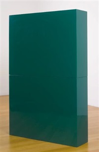 green slab in two parts (in 2 parts) by john mccracken