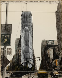 wrapped building, project for #1 times square, new york by christo and jeanne-claude