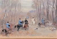 scènes de chasse à courre (3 works) by antoine de la boulaye