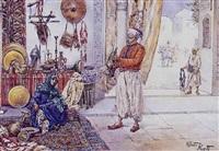 jeune femme et marchand dans le souk au tapis et aux cuivres by albert rosati
