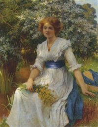 an elegant lady in a garden by w. savage cooper