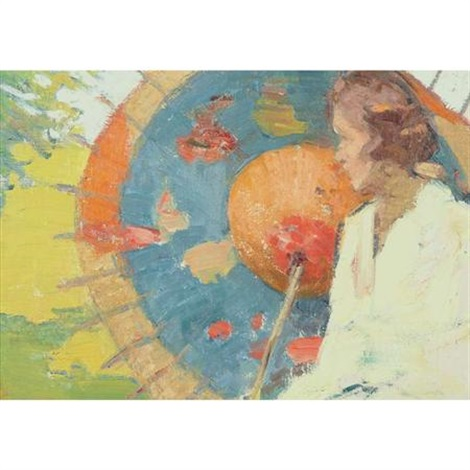 woman with parasol by gertrude fiske