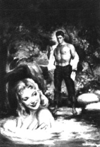 woman skinny-dipping, man on shore removing his shirt by julian paul