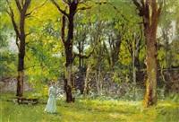 ung pige i lang lys kjole i en park by charles de meixmoron de dombasle