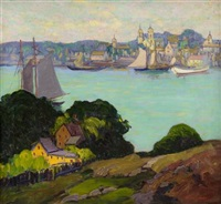 view across a harbor by fern isabel coppedge