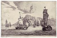 fischerboote in einer felsenbucht, eine festung auf den klippen, pl. 5 (from verschiedene seehäfen) by reinier nooms