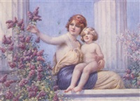 mother and child gathering lilac on a classical terrace by william f. ashburner
