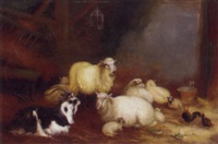 sheep, chickens and a goat in a barn by a. jackson