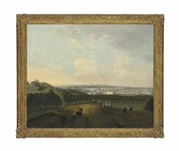 a view of greenwich, with riders and other figures in the foreground, the observatory to the left on one tree hill, the thames and london in the distance by peter tillemans