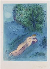 le lecon de philetas, pl. 16 (from daphnis und chloe) by marc chagall