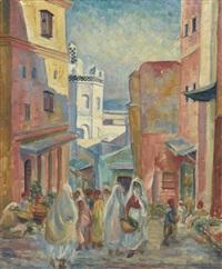 rue animée à alger, lively street in algier by jeanne baudot
