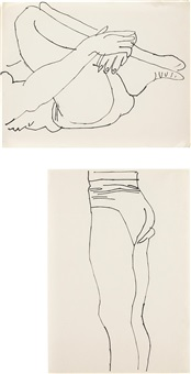 reclining figure with legs to chest (+ standing figure; 2 works) by andy warhol