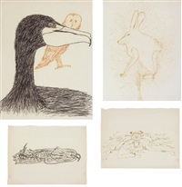 untitled - flower and beetle, 2 sheets (+ untitled - rabbit, owl and bird, lrgr, 2 sheets; 2 works) by merce cunningham