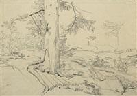 weite südliche landschaft mit bäumen by august wilhelm julius ahlborn