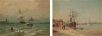 bateaux au port - l'arrivée au port (2 works) by firmin-barriere