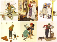 the artist's daughter; the deadline; the optometrist; lickn good bath; dancing partners (5 works) by norman rockwell