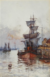 moored sailing vessels; and companion (pair) by frederick william scarborough