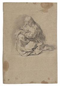 maria maddalena in preghiera, recto, e studio per la morte di pompeo verso by giacomo zoboli