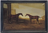 chesnut hunters in a stable by john miles of northleach