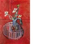 le vase fond rouge by françoise gilot